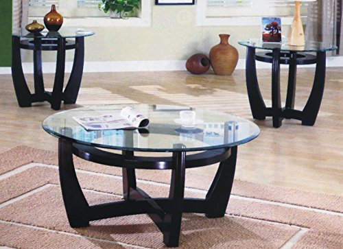 Maison Furniture 3 PCs round glass top wooden crisscross base coffee table set