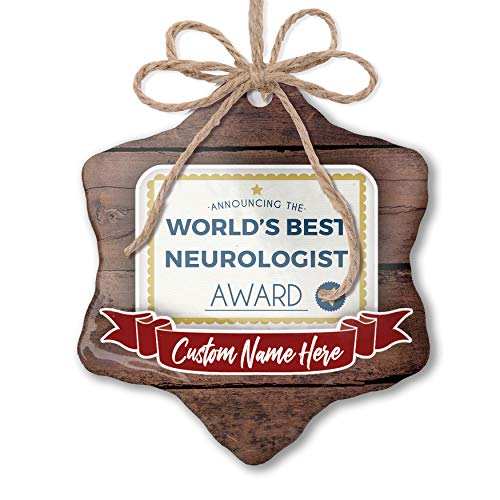 NEONBLOND Custom Family Ornament Worlds Best Neurologist Certificate Award Personalized Name
