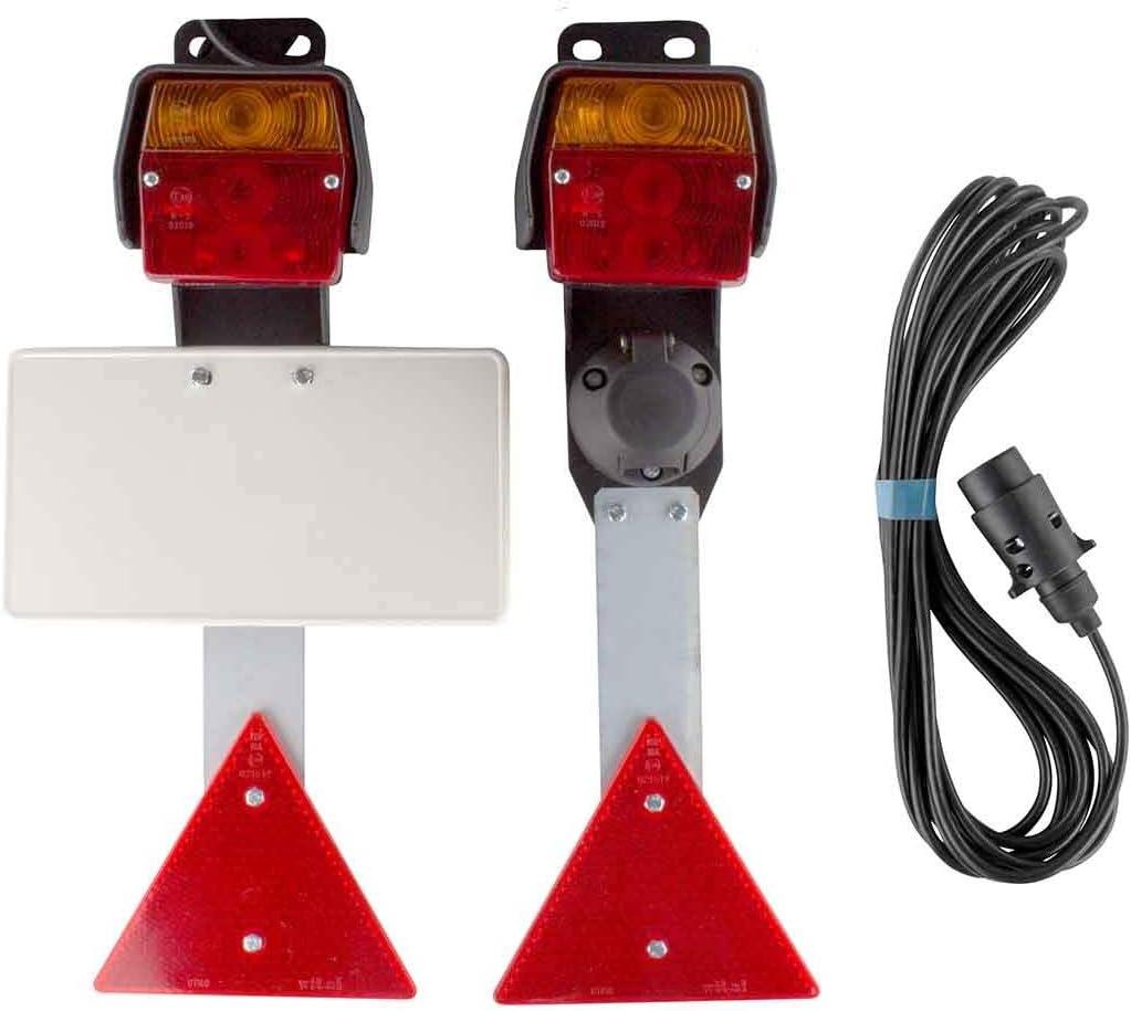 Anh/ängerdose R/ückleuchten Bremslicht Dreifunktionskammer Anh/ängerbeleuchtung Anh/änger Beleuchtungssatz mit KFZ Kennzeichenplatte und 7 Pol 10 Meter Zuleitung
