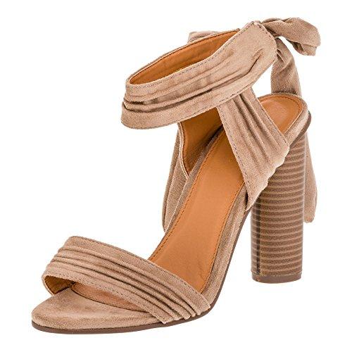W.S Shoes Damen Sandaletten High Heels Sandalen Blockabsatz Schuhe M360be Beige