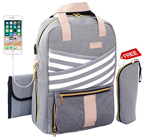 Diaper Bag Backpack – Large Multi-Function Waterproof Travel Backpack for Best Mom Dad Women – Baby Girl/Boy – Fashion Maternity Nappy Tote Bags – Changing Pad USB Charging Port – Durable St