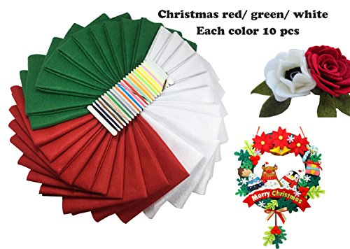 Levylisa 30pcs (12''x12'') Felt Sheets, Christmas Felt Colors, Pure Felt, Emerald Green,Red, White Felt Assortment, Christmas Ornaments, Stockings and Wreaths, Holiday Crafts,Felt Fat (Christmas Red Green)