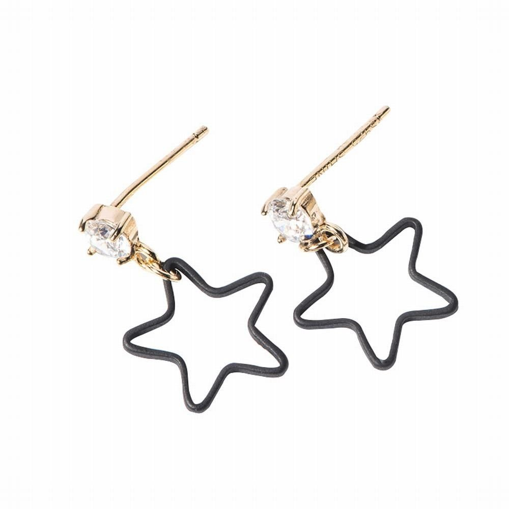 Ling Studs Earrings Hypoallergenic Cartilage Ear Piercing Simple Fashion Earrings Ear Jewelry Earrings 925 Silver Short Five-Pointed Star Silver Needle Star Earrings Black