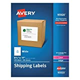 Avery Shipping Labels 8-1/2'' x 11'', Box of 250 (95920)