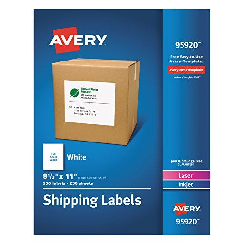 Avery Shipping Address Labels, Laser & Inkjet Printers, 250 Labels, Full Sheet Labels, Permanent Adhesive (95920) - Printer Labels Permanent Adhesive