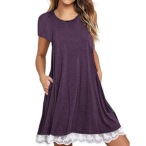 Zlolia Women's Lace Patchwork Midi Dresses with Pocket Round Neck Short Sleeve Swing Dress Summer Casual Home Service Purple