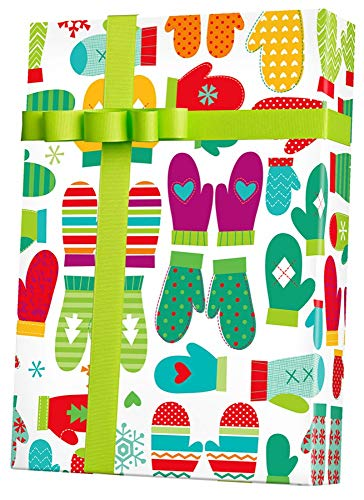 Gift Paper Wrapping Flat (Winter Mittens Colorful Holiday Gift Wrapping Paper Flat Sheet - 24