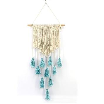 Jannyshop Makramee Wandbehang Mit Blau Quaste, Aus Baumwolle Und Holz,  Handgemachte Dekoration Böhmische Wanddeko