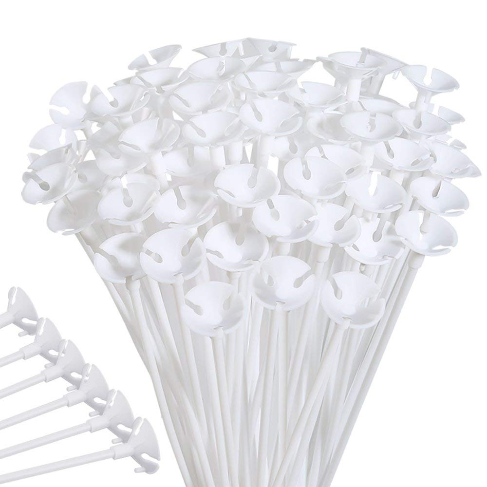 3A Featuretail Just Flowers Balloon Bouquet Plastic Balloons Stick Holder with Cup for Decoration (White, 100 Pieces) (B07M93GLR6) Amazon Price History, Amazon Price Tracker