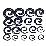 BODYA 9 Pairs Black Acrylic Spiral Snail Taper Plugs Tunnel Ear Stretcher Expander Kit Plugs 14-00 Gauges