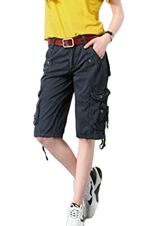 5edb0e7973 Zantt Women Multi Pockets Straight Bermuda High Waist Cargo Shorts Pants 1  28