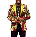 Winwinus Men's Casual Dashiki Floral Design Wrap Africa Batik Vogue Blazer 15 L