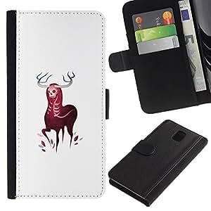 LECELL--Cuero de la tarjeta la carpeta del tirón Smartphone Slots Protección Holder For Samsung Galaxy Note 3 III -- Cuernos Elk ciervos --
