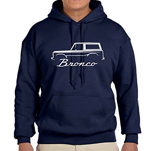01638d47856 1966-77 Ford Bronco Truck Classic Outline Design Hoodie Sweatshirt large  navy blue