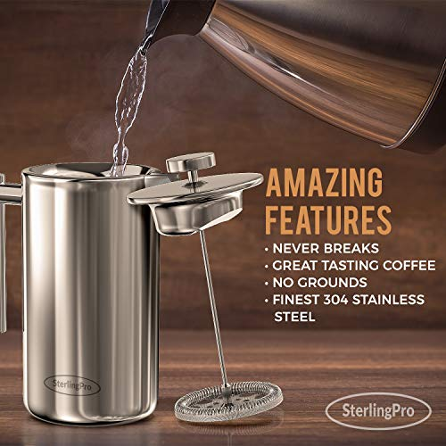 French Press Double-Wall Stainless Steel Mirror Finish (1.75L) Coffee/Tea Maker: Double-Screen System 100% No Coffee Grounds Guarantee, 18/10 Stainless Steel, Rust-Free, Dishwasher Safe, 2 Bonus Screens Included