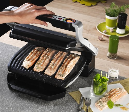 T-fal GC70 OptiGrill Electric Grill, Indoor Grill, Removable Nonstick Dishwasher Safe Plates, 4 Servings, Silver