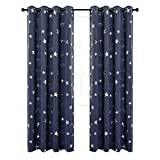 Anjee Navy Blue Star Print Kids Room Curtains (2 Panels 2 Tiebacks), Thermal Insulated Blackout Curtains/Thick Window Drapes for Nersery and Game Room, W52 x L84 Inches