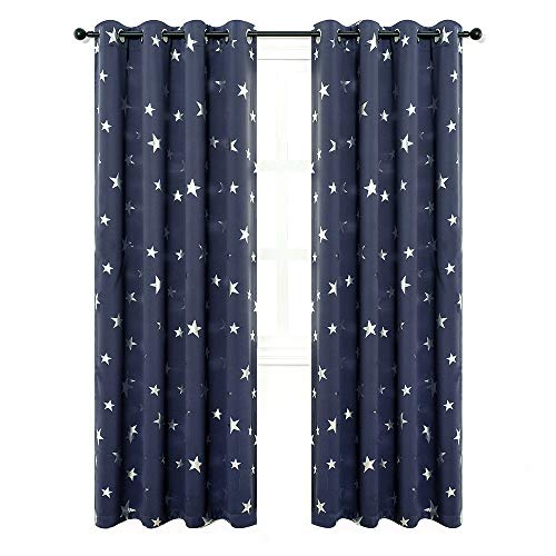 Anjee Navy Blue Star Print Kids Room Curtains, 2 Panels Thermal Insulated Blackout Curtains/Thick Window Drapes for Nursery and Game Room, W52 x L84 Inches