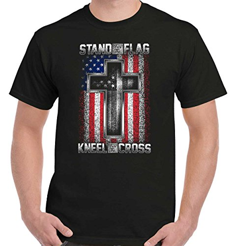 Flag Mens Tee - Stand American Flag Kneel Cross | 4th of July Jesus Christian USA God T-Shirt