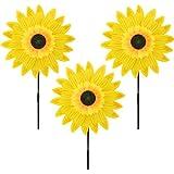 Pack of 3 Garden Decor Outdoor Wind Spinner Yard Decoration Sunflower (Yellow)