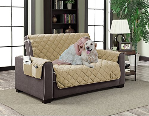 (Home Dynamix Slipcovers: All Season Quilted Microfiber Pet Furniture Couch Protector Cover - Beige Natural, 88 x 70 (Love)