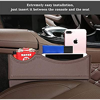 BALMOST Seat Gap Filler, Console Organizer, Car Pocket, Seat Catcher, Seat Crevice Storage Box for Cellphone Coin (Mocha Color): Automotive