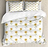 Sunflower Duvet Cover Set King Size by Lunarable, Hand Drawn Floral Pattern Watercolor Effect Nature Illustration, Decorative 3 Piece Bedding Set with 2 Pillow Shams, Reseda Green Yellow Ginger