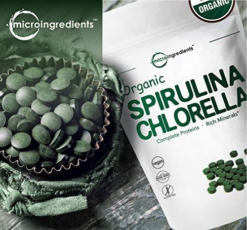 Organic Chlorella & Spirulina 3000mg, 720 Tablets, 120 Servings, Best Superfood for Antioxidant, Prebiotics, Chlorophyll, Amino Acids, Fiber & Proteins, Non-GMO & Vegan Friendly by Micro Ingredients (Image #1)