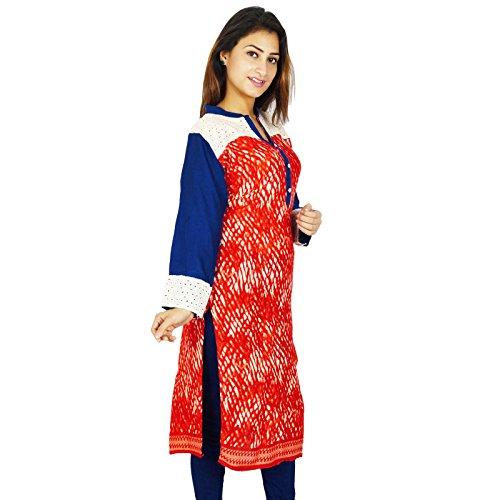 Casual étnica Kurti india de Bollywood Impreso Kurta Mujeres camiseta de algodón vestido de la túnica Rojo