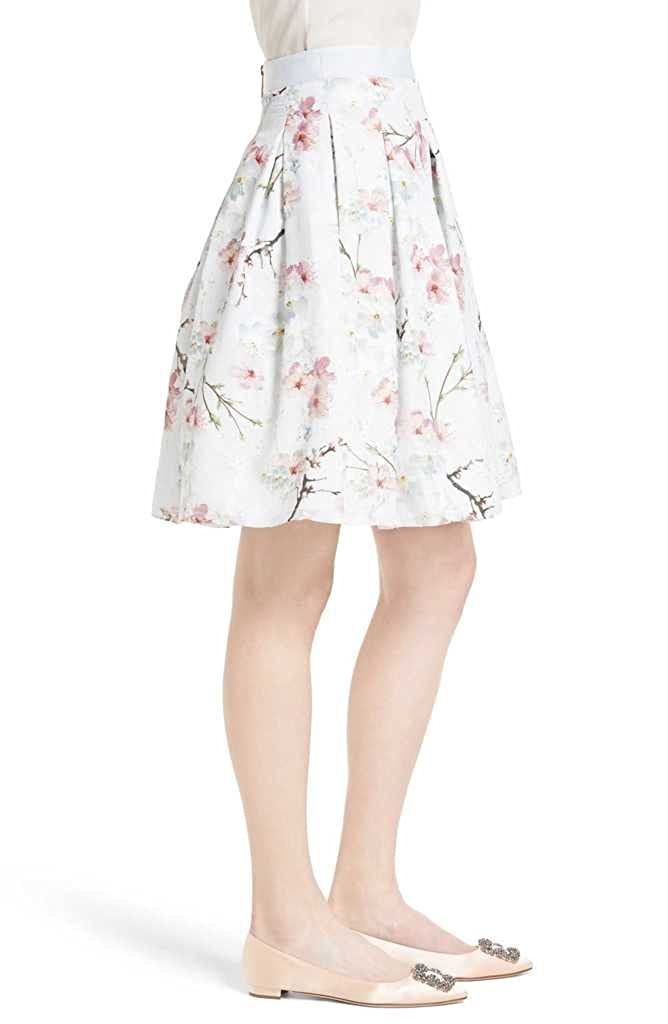 595f29cf1 Ted Baker TILLYE Oriental Blossom Burnout Pleated Skirt in Light Grey (3  (US 8))  Amazon.ca  Clothing   Accessories