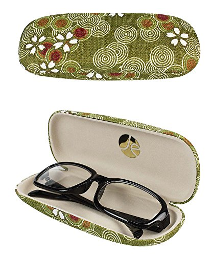 JAVOedge Green Cherry Blossom Print Matching Eyeglass Case + Lens Kit Combo (Includes Free Cleaning Cloth)