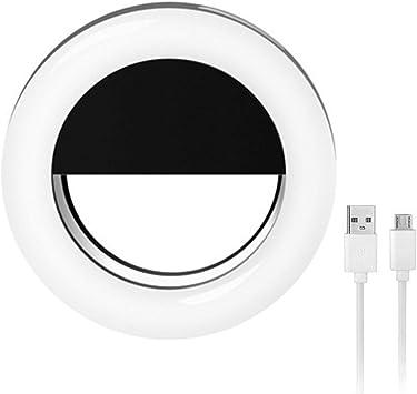 Vevice - Anillo de luz LED para selfie con clip para cámara de ...