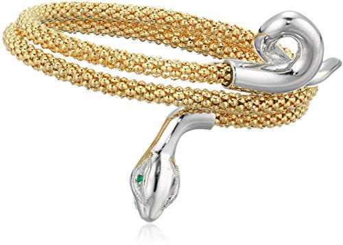 Women's 14K Yellow Gold Plated Sterling Silver And Rhodium Plated Sterling Silver Snake Bangle Wrap Bracelet -