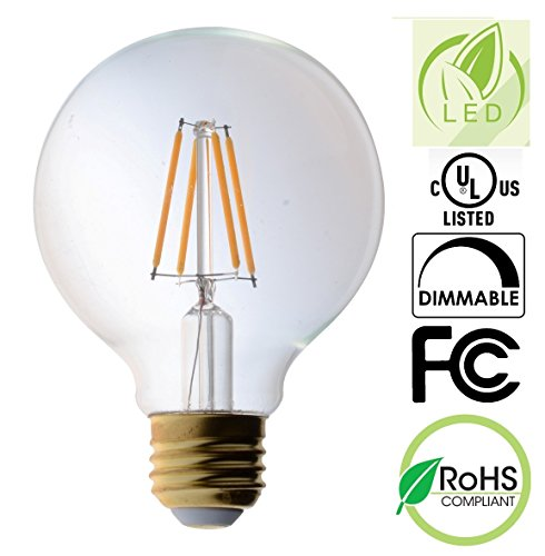 Bioluz LED Pendent LED Light Bulb, Clear Filament LED G25 Globe 40 Watt Replacement (Uses 4.5 Watts) Warm White (2700K) LED Light Bulb 470 Lumens UL Listed & Great Vanity Bulbs … - Uses Clear Standard Base Bulb