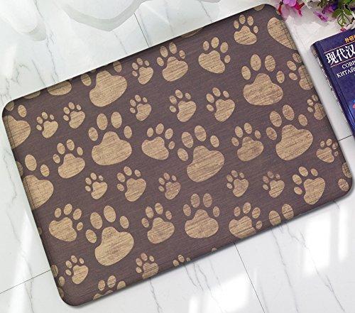 ChezMax Non-slip Doormat Coral Fleece Indoor Outdoor Kitchen Floor Rug Front Door Mat Funny Flannel Carpet Dog Paws 23.62