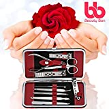 Manicure, Pedicure Kit, Nail Clippers Set of 10, Stainless Steel Manicure Tools Kit with Portable Travel Case, All in One Beauty Care Tools, By Beauty Bon®