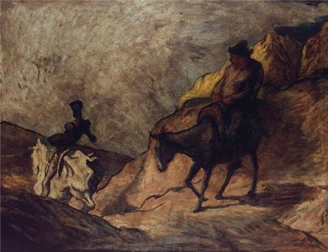 The Perfect Effect Canvas Of Oil Painting 'Honore Daumier - Don Quixote And Sancho Panza,1868' ,size: 24x31 Inch / 61x79 Cm ,this Cheap But High Quality Art Decorative Art Decorative Prints On Canvas Is Fit For Study Decoration And Home Decor And Gifts