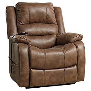 Ashley Furniture Signature Design - Yandel Power Lift Recliner - Contemporary Reclining Sofa - Faux Leather Upholstery - Saddle
