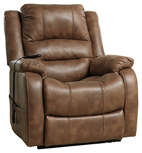 Contemporary Recliner (Ashley Furniture Signature Design - Yandel Power Lift Recliner - Contemporary Reclining Sofa - Faux Leather Upholstery - Saddle)