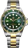 PASOY Mens Watch Green Luminous Sapphire Glass Stainless Steel Quartz Rotatable Bezel Waterproof Watches