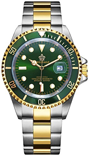 REGINALD Men Gold Watch GMT Rotatable Bezel Waterproof Sapphire Stainless Steel Date Quartz Green Watches (Gold/Green) ()