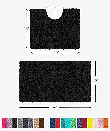 "LuxUrux Bathroom Rugs Luxury Chenille 2-Piece Bath Mat Set, Soft Plush Anti-Slip Shower Rug +Toilet Mat.1"" Microfiber Shaggy Carpet, Super Absorbent Machine Washable Bath Mats(Curved Set Mini, Black)"