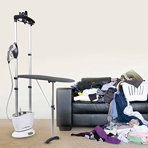 PurSteam Dual-Pro Iron & Pressurized Garment Steamer with - Professional Heavy Duty 1600 Watt Power with 1 Liter Water Tank, Built-in Ironing Board and Deluxe Garment Hanger with Hands Free Foot Pedal