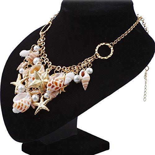 1dddf9337 SANCAN 2018 Ocean Beach Jewelry Sets Fashion Sea Shell Starfish Faux Pearl  Collar Bib Statement Chunky
