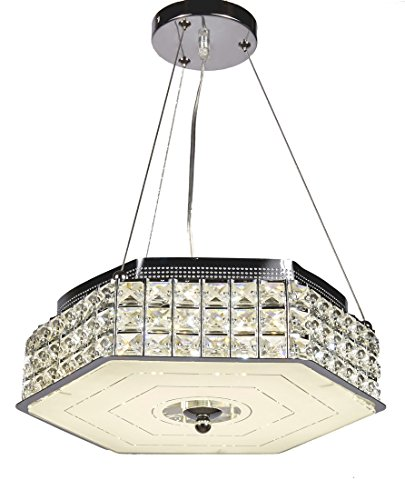 Diamond Life Modern LED Crystal Chandelier Pendant Hanging or Flush Mount Ceiling Lighting Fixture, 3 light colors in one Smart Lamp, #504