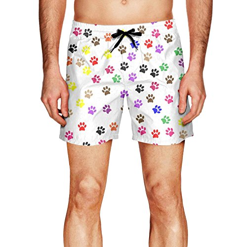 Dolorexri Men's Swim Trunk Colour Dog Paw Print Quick Dry Sh