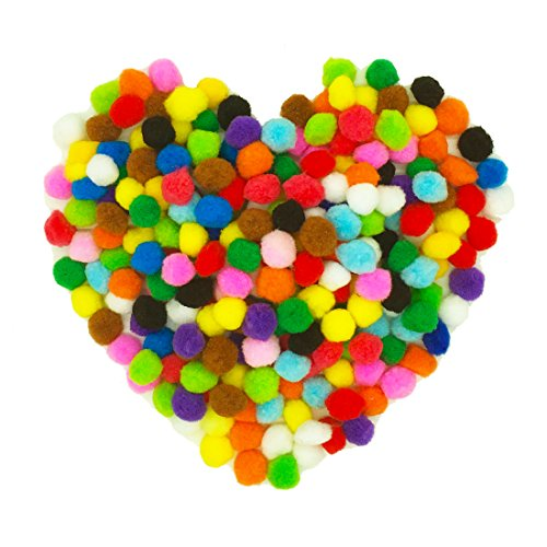 Amourlove 250 Pieces 1 inch Assorted Pom Poms for DIY Creative Crafts Decorations (250pcs/1 inch)