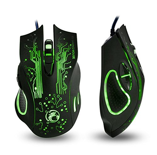 Apedra Wired Optical Gaming Mouse, Ghost Knight X9, LED Backlit, 2400 DPI 4 Adjustable DPI Mice 6 Programmable Buttons Gaming Mice For Windows XP/Vista/7/8/10/MAC OS X