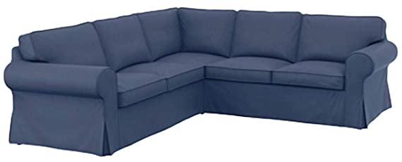 The Thick Cotton IKEA Ektorp 2 2 Sofa Cover Replacement is Custom Made for IKEA Ektorp Corner Or Sectional Sofa Slipcover (Blue)