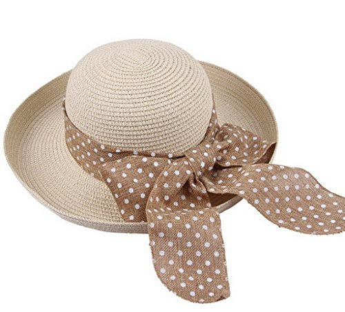 COMVIP Ladies Boho Dot Ribbon Sun Cap Wide Brim Beach Straw Hat Beige